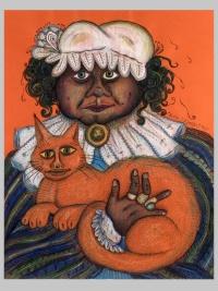 Жена с котка (снимка)